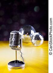 mikrofon, s, disco koule, hudba, nasycený, pojem