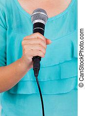 mikrofon, samica, dzierżawa ręka