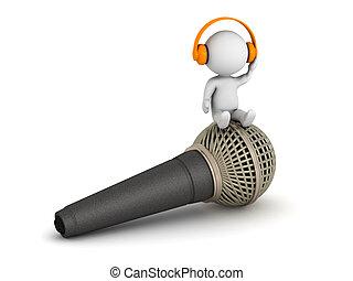 mikrofon, sittande, hörlurar, tecken, lyssnande, 3