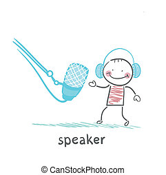 mikrofon, sluchátka, mluvčí, mluvi