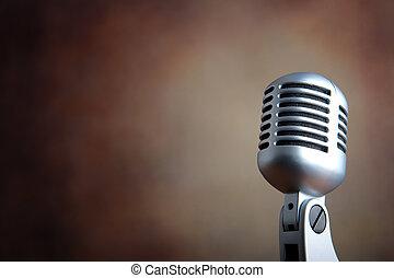 mikrofon, stary, retro