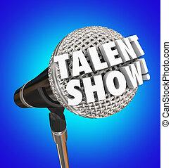 mikrofon, talent, pokaz, współzawodnictwo, słówko, śpiew, wypadek