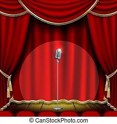mikrofon, teatr, rusztowanie