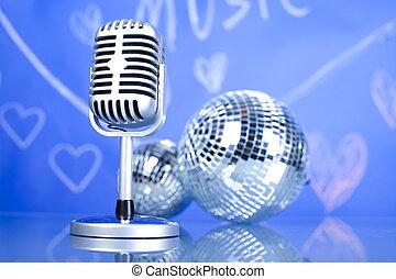 mikrofon, vinyl zapisovat, a, disco koule, hudba, nasycený,...