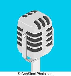 mikrofon, wektor, isometric, ilustracja