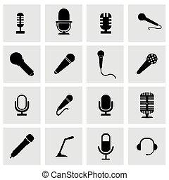 mikrofon, wektor, komplet, ikona