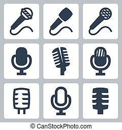 mikrofon, wektor, komplet, odizolowany, ikony