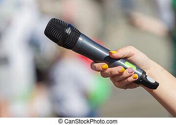 mikrofon, zawiera, samicza ręka