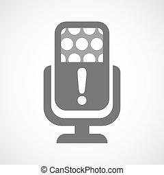 mikrofon, znak, exclamarion, ikona, odizolowany