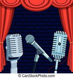mikrofony, komedia, pokaz, do góry, kurtyna, rusztowanie, stać