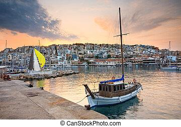 Yacht in Mikrolimano marina in Piraeus, Athens.