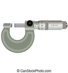 mikrométer, elszigetelt, képben látható, egy, fehér, háttér., vektor, illustration.