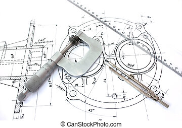 mikrometer, kompass, och, linjal, på, blueprint.