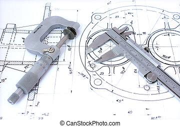 mikrometer, og, caliper, på, lystryk, horizontal.