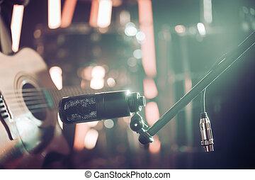 mikrophon, anschlüsse, für, aufnahme, akustikgitarre, nahaufnahme, in, a, aufzeichnungsstudio, oder, concert, hall.