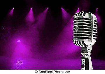 mikrophon, auf, bunte, hintergrund