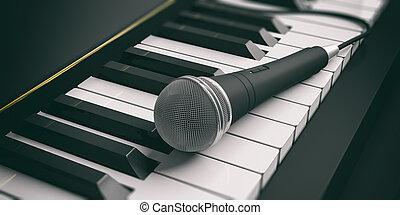 mikrophon, auf, klavier, keys., 3d, abbildung