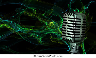 mikrophon, closeup, klassisch