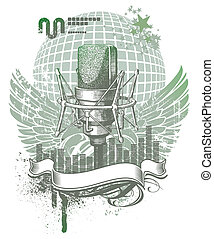 mikrophon, emblem, ritterwappen, hand, vektor, gezeichnet