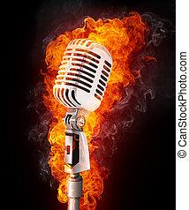 mikrophon, in, feuer