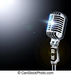 mikrophon, in, scheinwerfer