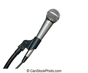 mikrophon, in, stehen