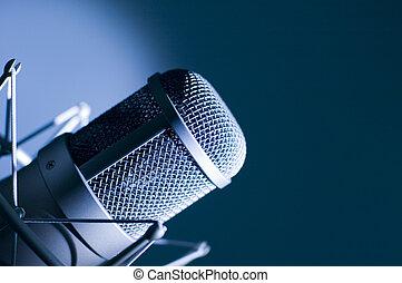 mikrophon, in, studio.