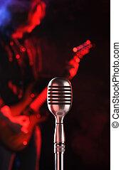 mikrophon, leben, weinlese, gestein