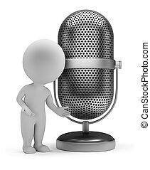 mikrophon, leute, -, retro, klein, 3d