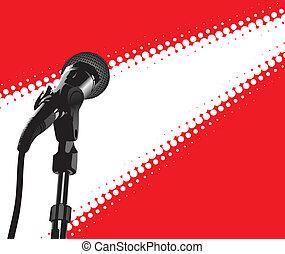 mikrophon, scheinwerfer, (vector)