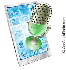 mikrophon, telefon, app, begriff