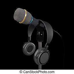 mikrophon, und, kopfhörer, (3d, illustration).