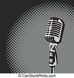 mikrophon, vektor, retro, scheinwerfer