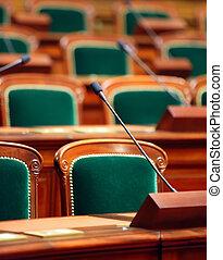 Mikrophone, kongress, Weinlese, Sitze, Halle, leerer