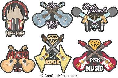 mikrophone, stil, abzeichen, logos, bunte, weinlese, kopfhörer, freigestellt, vektor, thema, satz, musik, gitarren, emblems., banner, aufkleber, oder