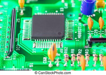 mikroprozessor, und, andere, elektronisch, komponenten, aufgestellt, auf, hauptplatine