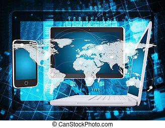 mikroschaltung, landkarte, tablette, smartphone, laptop