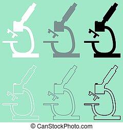 mikroskop, czarnoskóry, biały, icon., szary