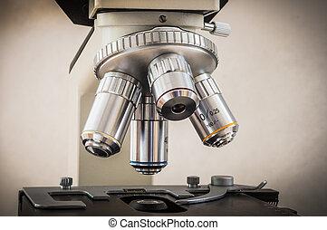mikroskop, in, vetenskaplig, och, sjukvård, forskning laboratorium