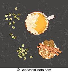 mikroskop k pivo, a, snack