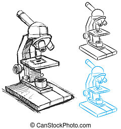 mikroskop, sätta, teckning