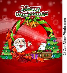mikulás, színes, sablon, karácsony