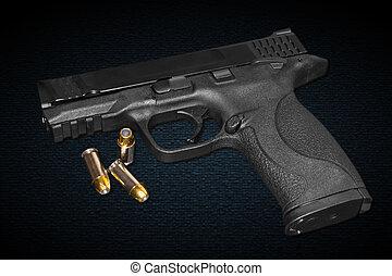 milímetros, 45, arma de fuego, calibre