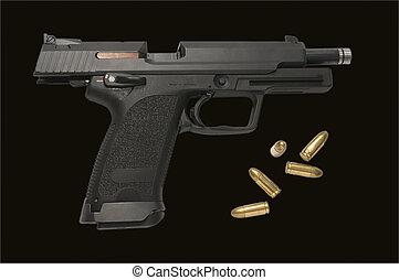milímetros, grande, 9, infracción, pistola, abierto