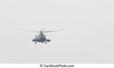 Mi-8 - Mil Mi-8 russian military helicopter flying by.