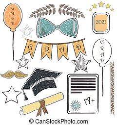 mil, package., elements., escuro, dois, fundo, ricos, graduação, eighteen., dourado