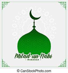 milad, onu, islamic, nabi, cartão, desenho, mesquita,...