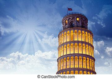 milagres, itália, iluminado, pisa, noturna, quadrado, torre...