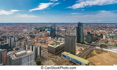 Milan aerial view of modern towers and skyscrapers and the Garibaldi railway station in the business district timelapse