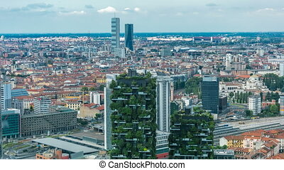 Milan aerial view of modern towers and skyscrapers and the...